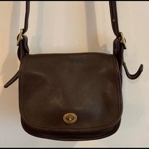 Vtg Coach Brown Leather Crossbody Bag